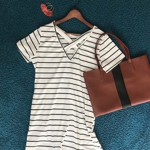 Black & white striped t-shirt dress - NWOT